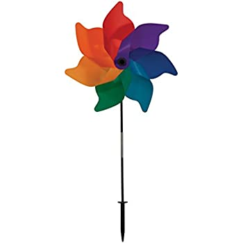 In The Breeze Rainbow Poly Petal Pinwheel Spinner, 18 Inch