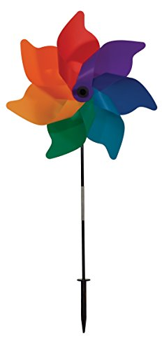 In the Breeze Rainbow Poly Petal Pinwheel Spinner, 18-Inch