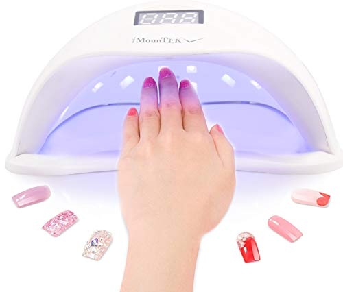 (iMounTEK 48W/24W UV LED Finger Nail & Toe Nail Drying Lamp. 4 Timer Settings, Professional Salon Quality Gel Polish Fast Dryer Manicure/Pedicure For Both Hands & Feet. Ideal For Home & Travel)