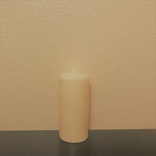 Muse Alight flat edge 9 inch Blow on & off Electronic Flameless Wax Pillar Candles, 3.5 by 9 inch Ivory, Vanilla Scented, Time feature, Remote Control Included (Flat edge 3.5 by 9 inch)
