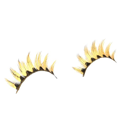 Hollywood Devil Costumes (Willsa Women Halloween Costumes Stage Party Makeup Artistic Plum blossom False Eyelashes (Gold))