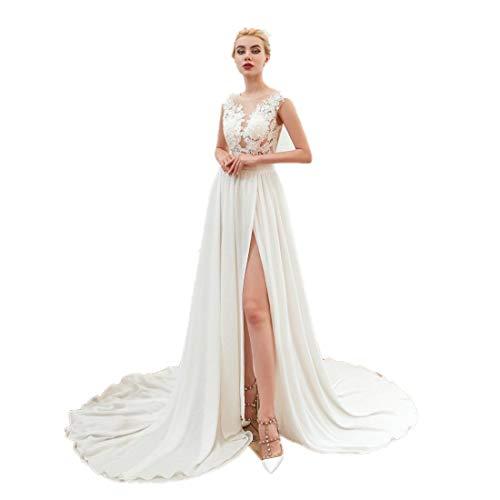 haixiangdress Women's Tulle Applique Wedding Dress Long Chiffon Beach Bridal Dresses Evening Formal Gowns White -