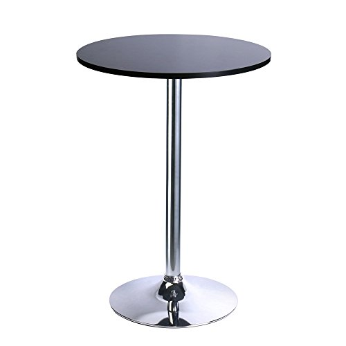 Black Round Bar Table (Leopard Round Top Not Adjustable(41 INCHES Height) Bar Table,Pub Table With Silver Leg and Base,Black)