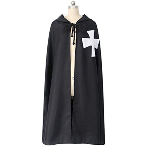 Limeile Knights Templar Halloween Cloak with Hood for Christmas Halloween Cosplay Costumes (M, Black) -