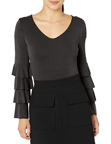 Love Scarlett Women's Petite Tier Ruffle Sleeve, Black, P Medium