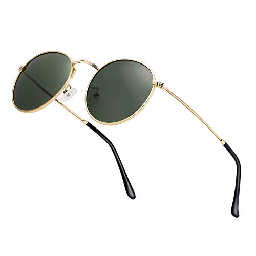 Unisex Round Sunglasses Vintage Retro Polarized Sun Glasses for Men Women Metal Frame Circle Shades
