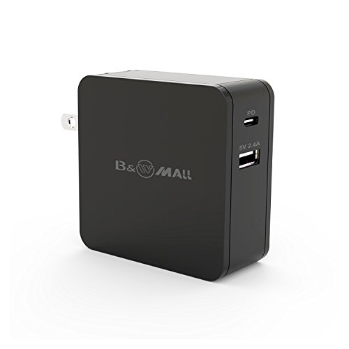 B&W Mall USB C Wall Charger with 45W USB-C Power Delivery Fast Charge & 5V 2.4A USB Wall Charger for MacBook/Pro,iPhone X/8/Plus,Huawei Mate 10,Pixel C,Moto Z,Nintendo Switch and More ()