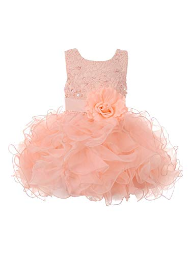 Baby Girls Peach Lace Sequin Multi Layer Ruffle Flower Girl Dress 12M
