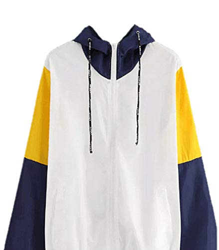 Blouson Manches Zippe Outerwear Shirts Vent Coupe Hauts Coat Capuche Printemps Jaune Femmes Fashion Patchwork Vestes Casual Top avec Jacket Automne Hoodie Sweat Manteau Longues 1RqY7