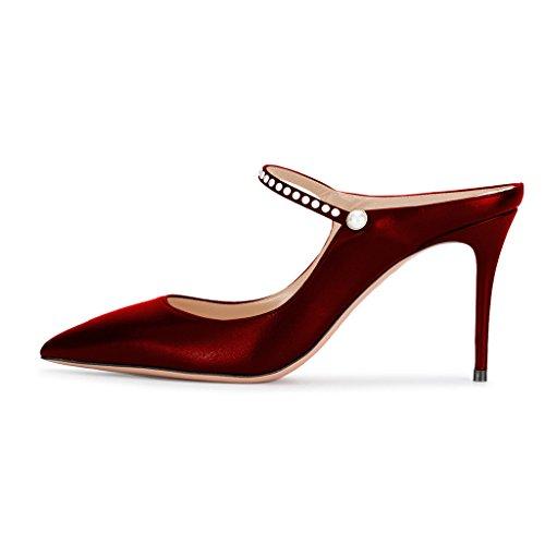 XYD Pointed Toe Slide Mule Sandals Slingback Stiletto High Heel Dress Pump Shoes With Beads Scarlet 6v3KVydOt