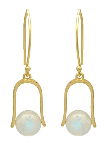 Rainbow Moonstone Gold Plated Over Brass Dangling Earrings Jewelry
