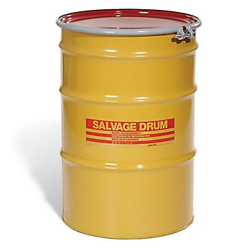 New Pig DRM1000 Open-Head UN Rated Lined Steel Salvage Drum with Red Cover, 55 Gallon Capacity, 23.06'' Diameter x 34-3/4'' Height, Yellow