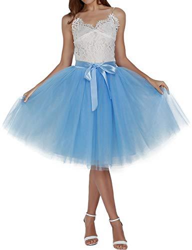 Women's Solid A Line Midi/Knee Length Tutu Skirt 6 Layered Pleated Tulle Petticoat Dance Tutu(Lake blue) ()