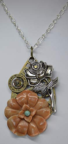 Gemstone Pendant necklace jewelry Aventurine carved flower, Rose, Jasper and turquoise cabs