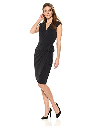 Designer Spring Dresses - Lark & Ro Women's Classic Cap-Sleeve Wrap Dress, Black, Large