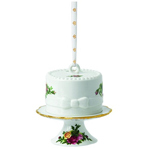 Royal Albert Old Country Roses Ornament, Cake with Cake Stand 3.1 Inch