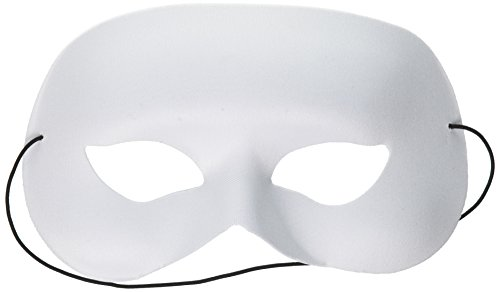White Masquerade Mask (Darice Quarter Face Mask, 6.5 by 4.75