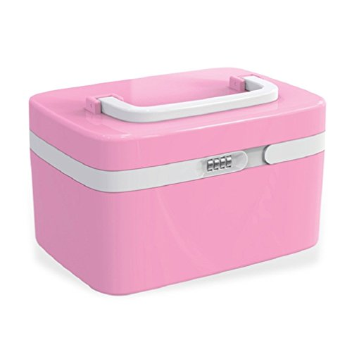 Combination Lock Medicine Cabinet Organizer First Aid Kit with Compartments - Pink