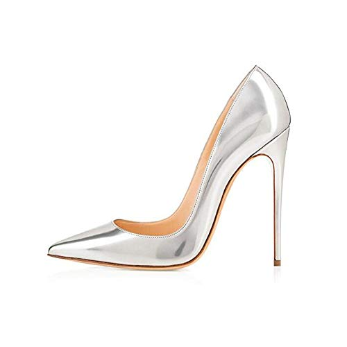 elepbaba Shoes 12cm Black Stiletto Pointed Toe Woman Shoes Sexy Party Shoes Nude Heels for Women Plus Size 5-12