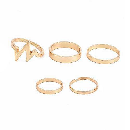 5 Pcs Vintage Bohemian Stack Rings V Lightning Gold Plated Joint Rings Knuckle Nail Ring Set for Women Girls Simple ()