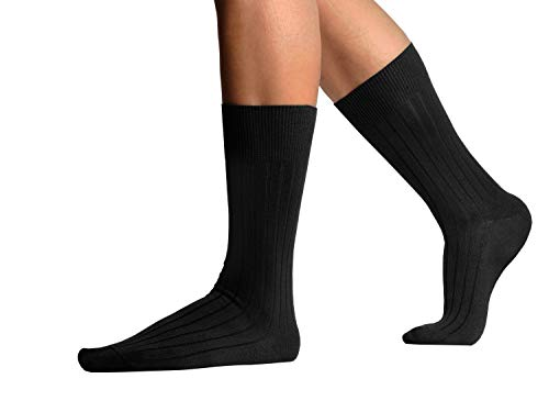 L.Martin Pima Cotton Casual Athletic Dress Crew Socks Men 3Pairs Black 11-12