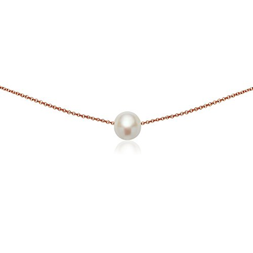 GemStar USA Rose Gold Flashed Sterling Silver Simulated White Pearl Semi-Round Ball Dainty Choker ()