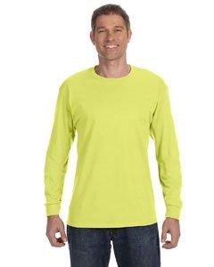 Jerzees Men's Heavyweight Blend 50/50 Long Sleeve T-Shirt (Safety Green, XXX-Large)