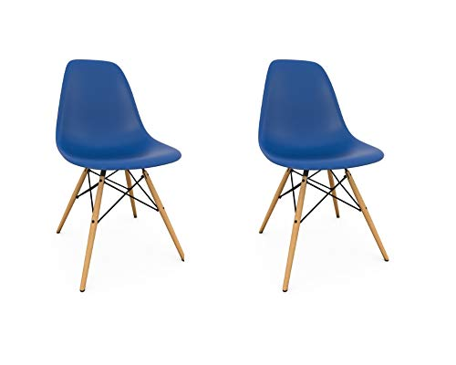 Take Me Home Furniture Eames Style Eiffel Dinning Chair in Royal bluee with Natural Wood Legs Set 2