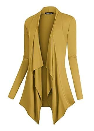 Urban CoCo Women's Drape Front Open Cardigan Long Sleeve Irregular Hem (XL, Mustard)