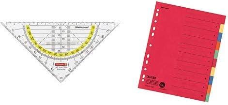 Brunnen 104975701 Geometrie-Dreieck Geodreieck  /& Falken Karton-Register f/ür DIN A4 24 x 29,7 cm volle H/öhe mit Organisationsdruck 10-teilig vollfarbig 2 x 5 Farben rot gelb blau orange