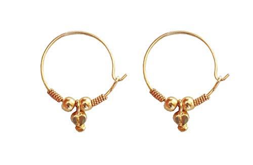 Satfale Jewellers Solid 22K 22 Carat Fine 100% Pure Gold Round Shape Design Small Handmade Hoop Earrings ()
