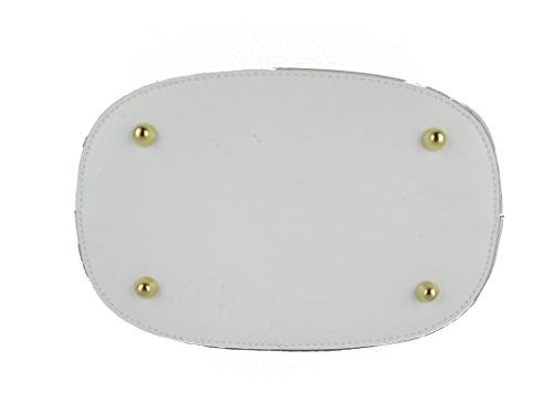 de Piel cruzados F G para blanco bianco mujer Bolso TZwO6