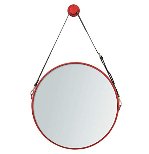 KOSGK Circle Wall Hanging Mirror with Adjustable Leather Belt Bedroom Bathroom Metal -