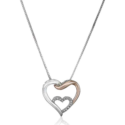- Entwined Heart Pendant Necklace with Diamonds in Sterling Silver & 14K Rose Gold, 18