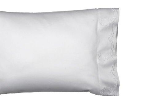 Dea Emilia Embroidery Sateen Pillowcases, Standard, White/White