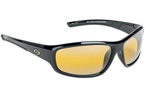 Strike King S11 Optics Bristol-Cloud Polarized Sunglasses with Shiny Black Frames and Cloud (Gradient Lens Shiny Black Frame)
