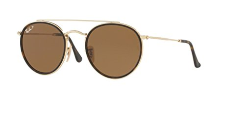 Ray-Ban RB3647N Round Double Bridge Sunglasses (Gold/Brown Polarized, - Sunglasses Ray Ban Polarized Round