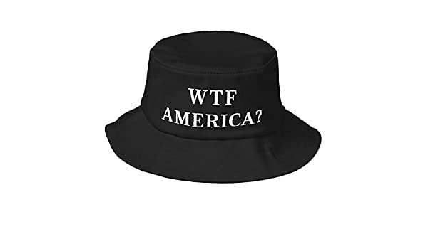 b64ad10e58f WTF America  Bucket Hat (Embroidered Old School Bucket Hat) Post 2016  Election Anti POTUS Donald Trump Black at Amazon Men s Clothing store
