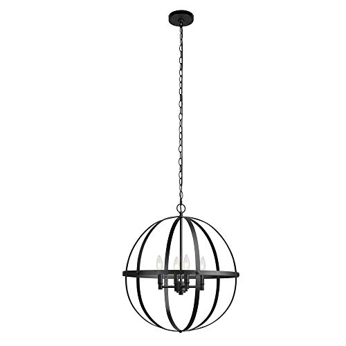 Globe Electric Sansa 6 Light Chandelier, Dark Bronze, Brass Sockets 60257, 51