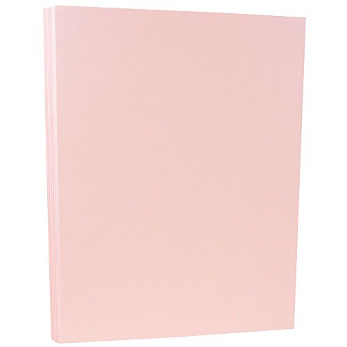 JAM PAPER Matte 80lb Cardstock - 8.5 x 11 Coverstock - Baby Pink - 50 Sheets/Pack