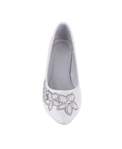 KRISP Womens Ladies Vintage Pointed Glitter Bridal Ballerina Pumps Cut Out Ballet Flats Silver (2342) zWnOcU