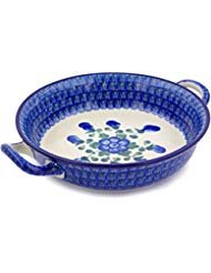 Polish Pottery Round Medium Baker with Handles made by Ceramika Artystyczna (Blue Poppies)