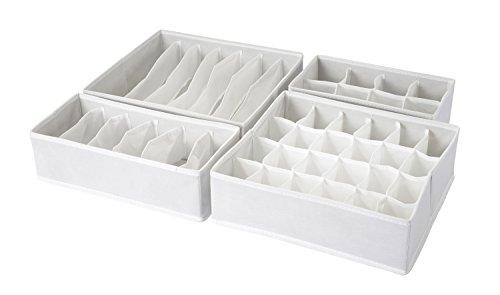 AzxecVcer Set of 4 Foldable Drawer Dividers, Closet Underwear Organizer,Storage Boxes, Closet Organizers, Under Bed Organizer,White
