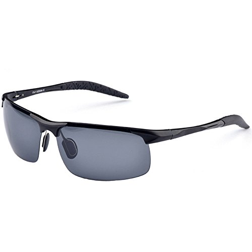 MOTELAN 2016 Mens Sports Style Driving Polarized Sunglasses Unbreakable-metal Frame Black