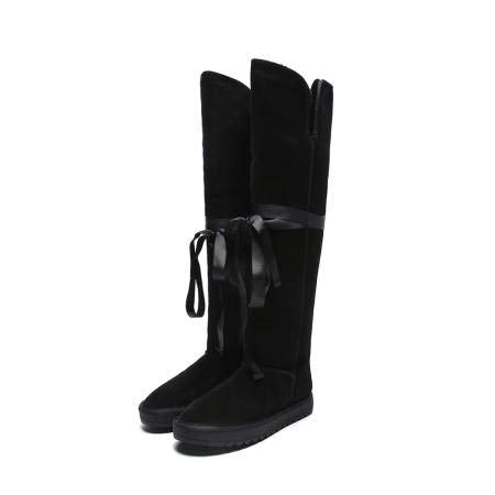 Piel de Botas TSNMNB Nieve de de Altas algodón de Invierno de Arco Mujeres de Cinta Negro 39 Cuero Botas de Botas Oveja dwfFn6UWqw