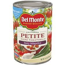 Del Monte, Petite Cut, Diced Tomatoes with Zesty Jalapenos, 14oz Can (Pack of 6)