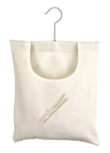 (Whitmor Canvas Clothespin Bag Hanging Storage Organizer)