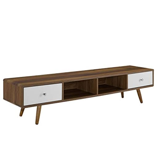 Living Room Modway Transmit 70″ Media Console Wood TV Stand, 70 Inch, Walnut White modern tv stands