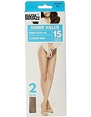 Razzamatazz Women's Pantyhose 15 Denier Comfort Brief Sheers (2 Pack)