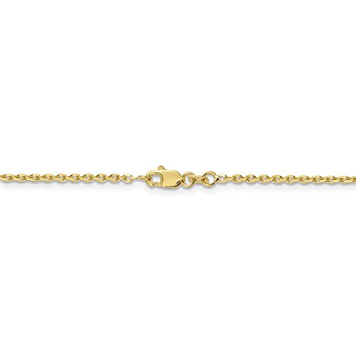 Gold Anklet Diamond Cut Cable - 1.65 mm 10k White Gold Diamond-Cut Cable Chain Ankle Bracelet - 9 Inch